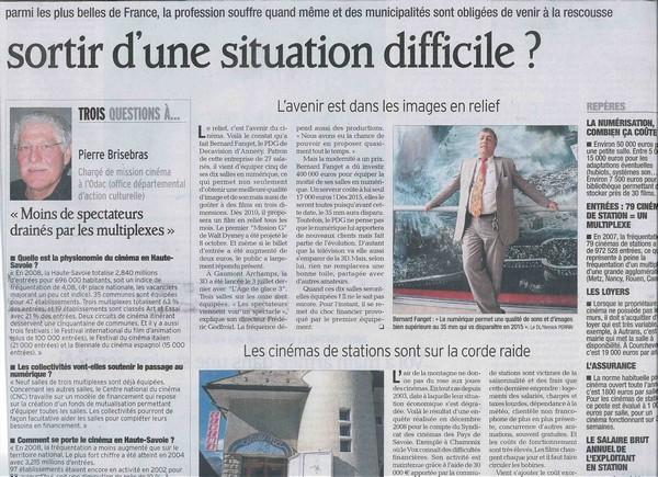Article du Dauphiné Libéré sur les salles de cinéma.