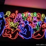 Fresque lumineuse du cinéma Mk2 BNF à Paris